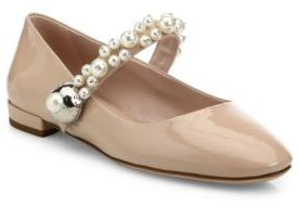 Miu Miu Pearly Patent Leather Mary Jane Flats