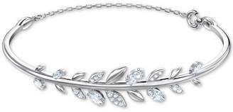 Swarovski Silver-Tone Crystal Leaf Bangle Bracelet