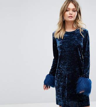 Anna Sui Exclusive Crushed Velvet Mini Dress wih faux Fur Cuff