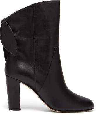 Jimmy Choo Malene 85 Bow Trimmed Leather Boots - Womens - Black