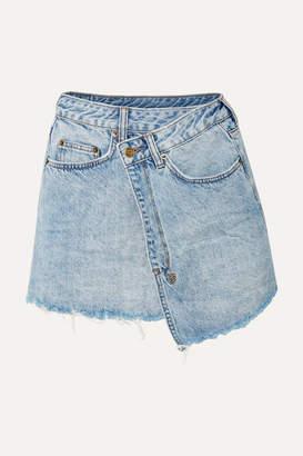 Ksubi Rap Frayed Denim Mini Skirt - Light denim