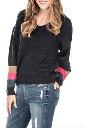 Joy Joy Color Fur Sleeve Navy Sweater