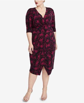 Rachel Roy Trendy Plus Size Printed Wrap Dress