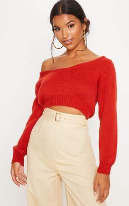 PrettyLittleThing Rust V Neck Off The Shoulder Soft Knitted Crop Jumper