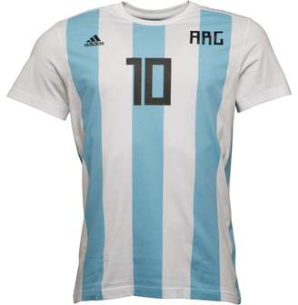 adidas Mens Messi Name And Number T-Shirt Clear Blue/White/Black