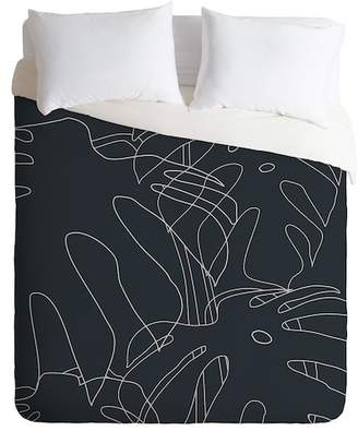 Deny Designs The Old Art Studio Monstera King Duvet Cover - Black