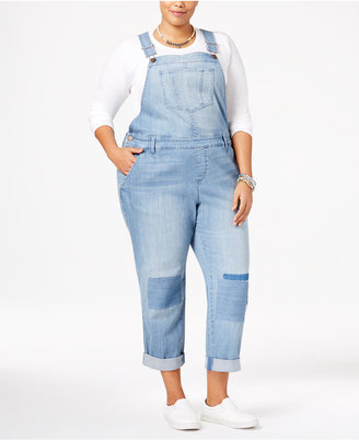 American Rag Trendy Plus Size Malfa Wash Patched Overalls, Only at Macy's $79.50 thestylecure.com