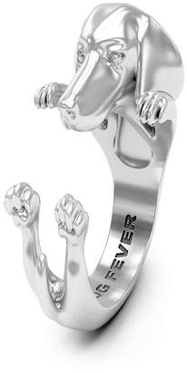 Long Hair Dachshund Hug Ring in Sterling Silver