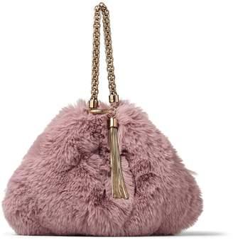 b68095324f53 Jimmy Choo CALLIE Mauve Faux Fur Clutch Bag
