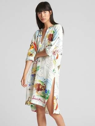 Gap Dreamwell Print Crinkle Popover Shirtdress
