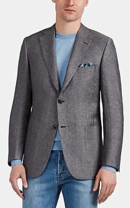 Brioni Men's Ravello Herringbone Linen-Blend Two-Button Sportcoat - Gray