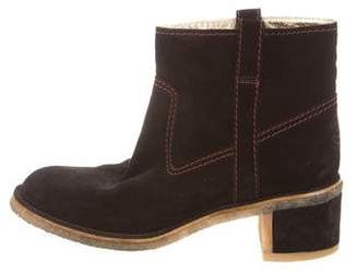 Chanel CC Suede Ankle Boots