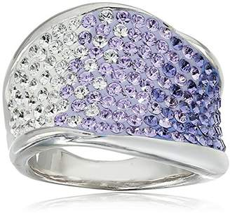 Swarovski Sterling Silver Faded Wave Shape Elements Ring