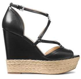 MICHAEL MICHAEL KORS Terri Leather Espadrille Wedge Sandals $150 thestylecure.com