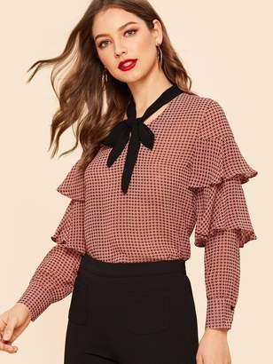 790ea6bf029b7 Shein 70s Tie Neck Tiered Ruffle Houndstooth Blouse