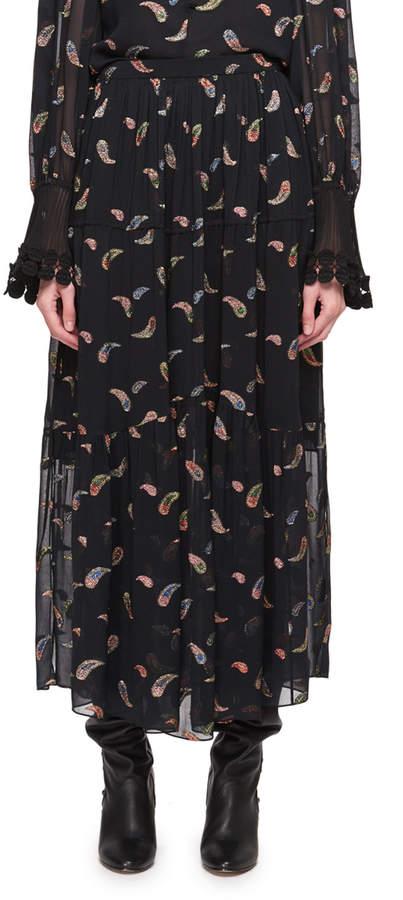 Chloe Paisley Lurex Jacquard Long Chiffon Skirt