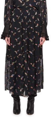 Chloé Paisley Lurex Jacquard Long Chiffon Skirt