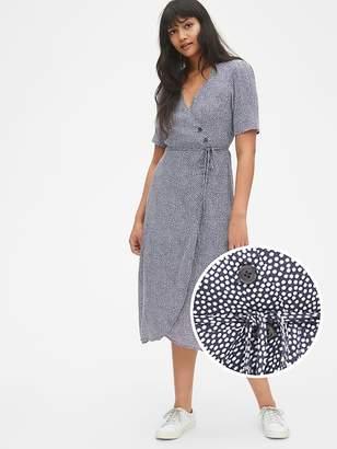 Gap Short Sleeve Side-Button Midi Wrap Dress