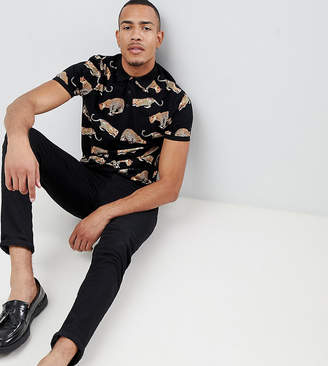 Asos Design DESIGN Tall polo with all over leopard print