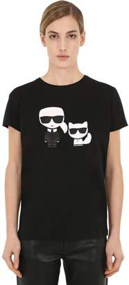 Karl Lagerfeld Choupette & Cotton Jersey T-Shirt