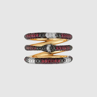 Gucci Triple wrap Ouroboros ring in gold and gemstones