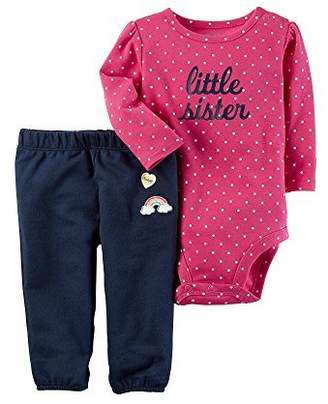 Carter's Baby Girls 2-Piece Little Sister Bodysuit Pants Set