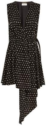 Saint Laurent Tie Neck Polka Dot Print Dress - Womens - Black White