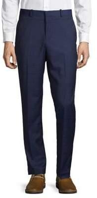 Perry Ellis Windowpane-Print Slim-Fit Pants
