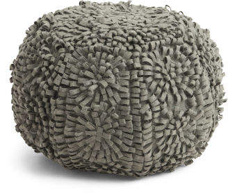 Made In India 16x20 Wool Blend Felt Floral Pouf