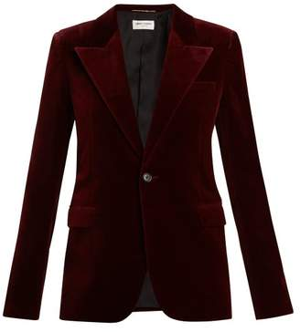 Saint Laurent Single Breasted Velvet Blazer - Womens - Burgundy