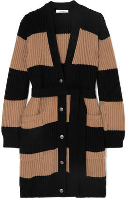 Max Mara Belted Striped Ribbed Wool And Cashmere-blend Cardigan - Beige