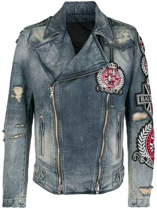 Balmain patch embroidered denim biker jacket
