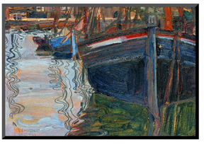 Boats Mirrored in the Water, 1908 by Egon Schiele (Mounted Print)