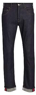 Gucci Men's Slim Logo Stripe Jeans