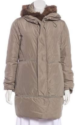 Moncler Fur-Trimmed Petiolee Coat