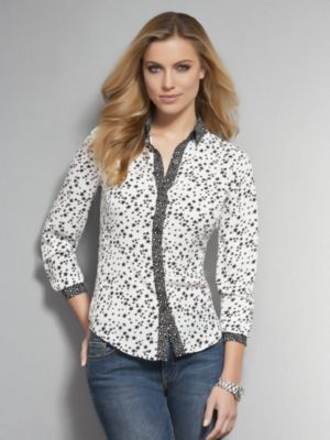 New York & Co. Starry Night Silky Button-Front Blouse