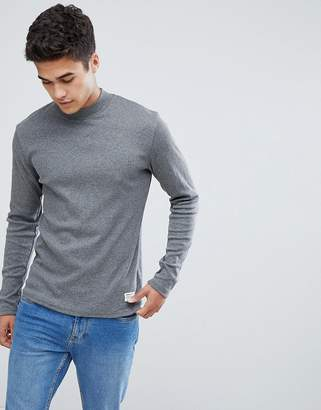 Solid Slim Fit Long Sleeve T-Shirt With High Neck