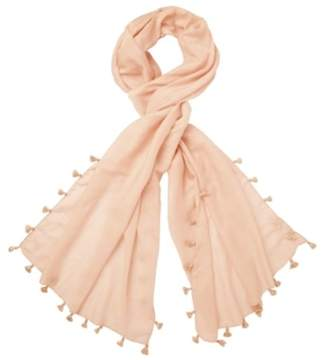39cd6f37a The White Company Tassel Scarf with Silk, Pale Pink, One Size