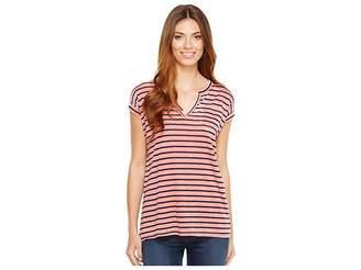Allen Allen Stripe Split-Neck Tee Women's T Shirt