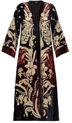 Biyan Holma Floral Applique Velvet Evening Coat - Womens - Burgundy Multi