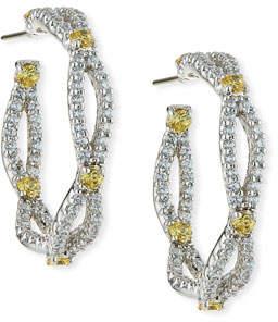 Fantasia Tiny Inside-Out CZ Hoop Earrings 3ot57sDb