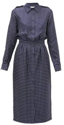Gabriela Hearst Military Polka Dot Silk Shirtdress - Womens - Navy White