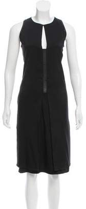 Reed Krakoff Leather Trimmed Sleeveless Dress