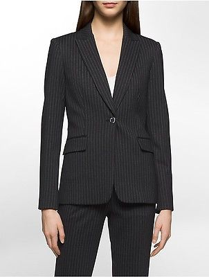Calvin Klein Calvin Klein Womens Heathered Pinstripe Suit Jacket