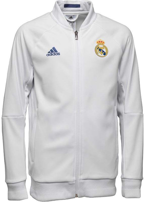 Junior RMCF Real Madrid 3 Stripe Anthem Jacket White