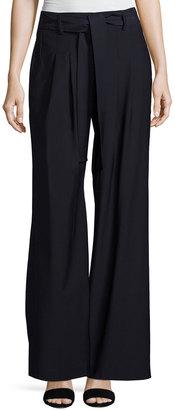 Pink Tartan Self-Tie Wide-Leg Pleated Pants, Navy $259 thestylecure.com