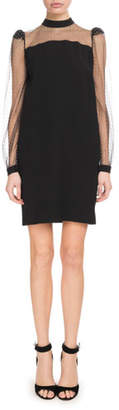 Givenchy Long-Sleeve Crepe Satin Shift Dress w/ Sheer Embroidered Neck & Sleeves