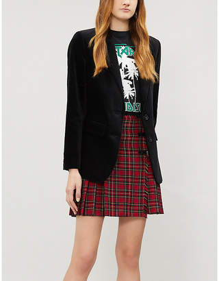 The Kooples Leather buckle-trimmed stretch-wool skirt