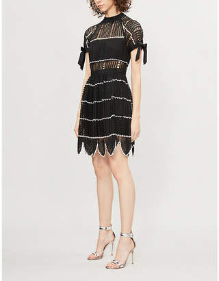 Self-Portrait Scallop-trimmed monochrome crochet dress