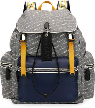 Bally Men's Logo-Print Faux-Leather Backpack